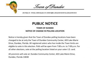 Town of Dundee Polling Location Change Polling Location