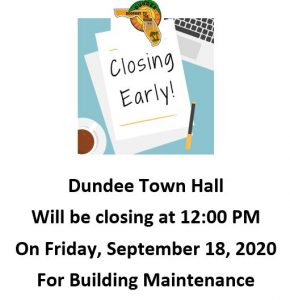 Town hall Early Closure 09/18/2020