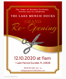 Lake Menzie Docks Grand ReOpening Invitation